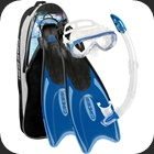 Full snorkeling set including Palau fins, Onda mask and Gamma snorkel