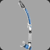 Dry snorkel with purge valve and flexible hose