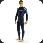 A thin 1mm neoprene suit fort warm water