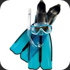 Full snorkeling set including Rondinella fins, Onda mask and Gringo snorkel