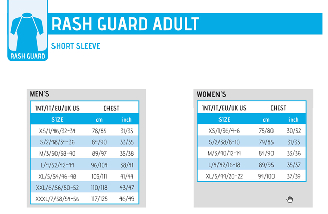 Size chart for Cressi Rash Guards